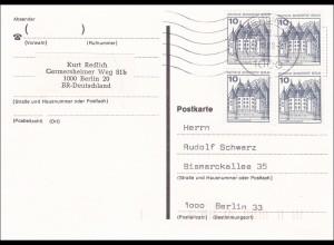 Postkarte innerhalb von Berlin 1989