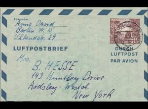 Gansachen Luftpostbrief von Berlin nach USA 1952