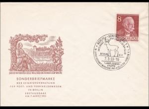 FDC mit Sonderstempel Hirsch 1953