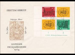DDR: Leipziger Frühjahrsmesse 1964 - Eckrand mit Nummer VEB Druckerei - FDC