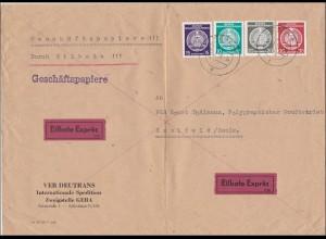 DDR: Geschäftspapiere 1955 als Eilbote von Gera nach Saalfeld