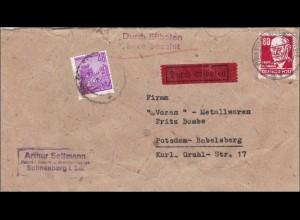 DDR: Eilboten Brief 1953 von Scheeberg nach Postsdam