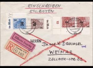 DDR: Einschreiben-Eilbote von Dresden nach Weimar - Eckränder - Überdruck