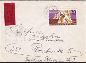 DDR: Eilbotenbrief von den Olypmischen Winterspielen 1976 nach Rostock