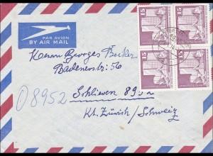 DDR: Luftpostbrief von Berlin in die Schweiz 1974