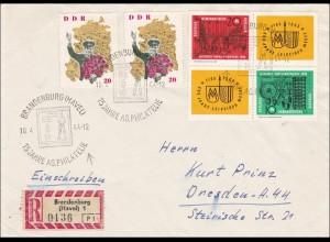 DDR: Einschreiben aus Brandenburg 1964 mit Sonderstempel nach Dresden