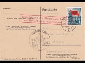 Postkarte/Drucksache von Meiningen 1953 - Befördert mit Postkutsche von Erfurt