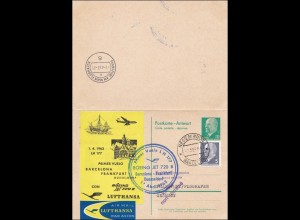 DDR: Ganzsache 1963 Barcelona- Lufthansa Frankfurt-Düsseldorf