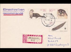 1988: Einschreiben aus Zeulenroda nach Guxhagen - Fischotter - Ganzsache U7