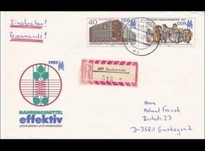 DDR: 1987: Einischreiben aus Zeulenroda nach Guxhagen - Ganzsache U6