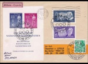 1956: Eilboten von den Olympischen Spielen-Berlin nach USA - Lufthansa Stempel