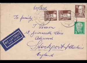 DDR: 1954: Luftpost von Halle nach England: Köpfe II, BPP Signatur