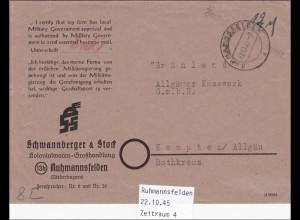 DDR: 1945: Ruhmannsfelden nach Kempten - Bestätigung