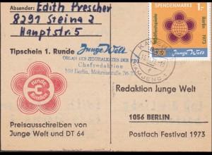 DDR: 1972: Tipschein aus Steina nach Berlin - Redaktion Junge Welt, FDJ