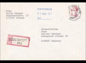 DDR: 1991 - Einschreiben aus Bergen nach Bamberg