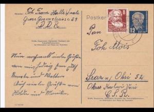 DDR: 1953: Ganzsache von Halle nach CSR; Köpfe II BPP signiert
