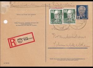 DDR: 1953: Ganzsache als Einschreiben von Pappenheim nach Schmalkhalden