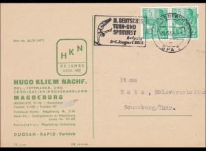 1956: Postkarte Farbenbestellung Magdeburg nach Sonneberg-Werbestempel Turnfest