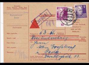 DDR: 1952: Nachnahme Paketkarte von Jena - zurück Köpfe II, Eckrand