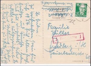 Weihanchtskarte von Weimar nach Friedbarg - Nachgebühr, Köpfe II, BPP signiert