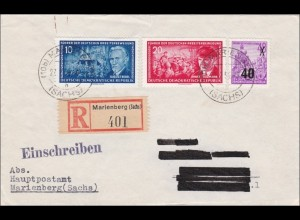 """DDR: 1955: Einschreiben Marienberg - """"Kleine Fälschung"""""""