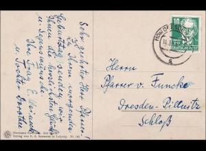 DDR: 1953: Ansichtskarte geigende Nonne von Dresden: ORTSPOSTKARTE Köpfe II