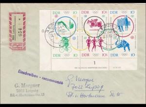 DDR: 1983: Einschreiben Leipzig mit Eckrand und VEB Druck Nummer