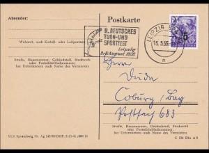 """DDR: 1956: Postkarte aus Berlin nach Coburg - Sparwochen, """"Klein Fälschung"""""""