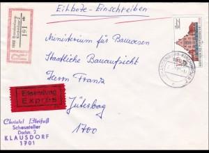 DDR: 1983: Eilboten-Einschreiben von Brandenburg Kirchmöser nach Jüterbog