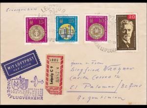 DDR: 1965: Einschreiben aus Leipzig nach Argentinien