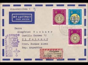 1965: Einschreiben Königstein als Luftpost Sonderflugverkehr nach Argentinien