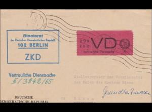 DDR: 1965: ZKD - Vertraulich von Berlin nach Riesa
