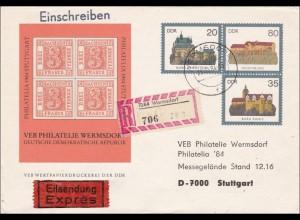 DDR: 1984: Einschreiben Eilboten Wermsdorf nach Stuttgart - Ganzsache