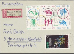 DDR: 1964: Eiinschreiben aus Dresden nach Hannover