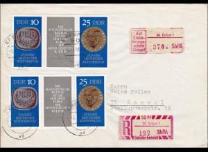 DDR: 1970: Einschreiben aus Erfurt nach Kassel