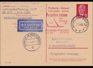 DDR: 1968: Ganzsache Antwortkarte Brüssel-Frankfurt - Erstflug Boeing 737