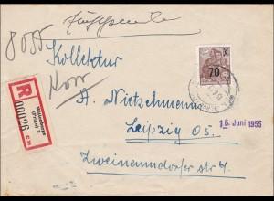 DDR: 1955: Einschreiben Wittenberge nach Leipzig