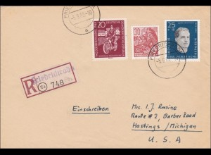 DDR: 1960: Einschreiben von Friedrichsroda nach USA