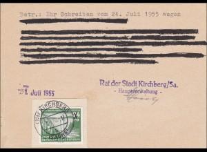 "DDR: 1955: Postkarte der Stadt Kirchberg/Sa ""Kleine Fälschung"""