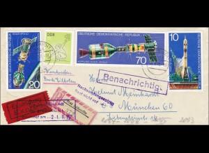 1975: R-Eilboten von Schkeuditz nach München- Nachsendungsantrag liegt nicht vor