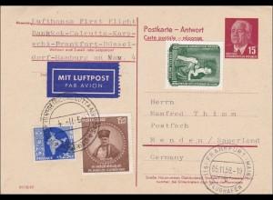 1959: Antwort Frankfurt-Flughafen Bankkok, Calkcutta-Karaschi, Düsseldorf Menden