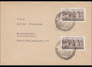 1954: Messe Leipzig nach Markranstädt-Sonderstempel Internationale Friedensfahrt
