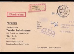 1977:Postsache Einschreiben Berlin nach Leipzig-Fehlgeleitet Mängel bei der PLZ