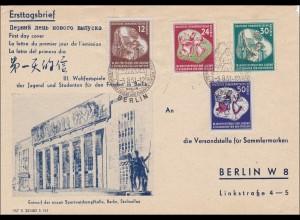 1951: FDC Weltfestspiele an Versandstelle für Sammlermarken Berlin-Sonderstempel