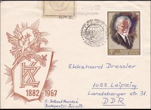 DDR: 1968: Brief aus Budapest nach Leipzig: Beschädigt eingegangen