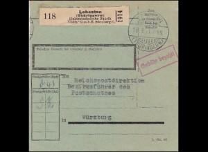 Paketekarte Lehesten/Thüringen an RPD, Bezirksführer des Postschutzes Würzburg