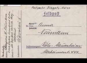 Deutsche Post Osten - Warschau - Feldpostbrief Postschutz Rottenführer