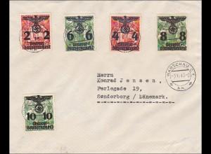Generalgouvernement (GG) Brief nach Dänemark mit Zensurbanderole