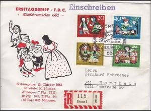 Ersttagsbrief 1962 FDC Wohlfahrtsmarken als R-Brief