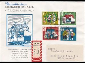 Ersttagsbrief FDC 1961 Wohlfahrtsmarken als R-Brief
